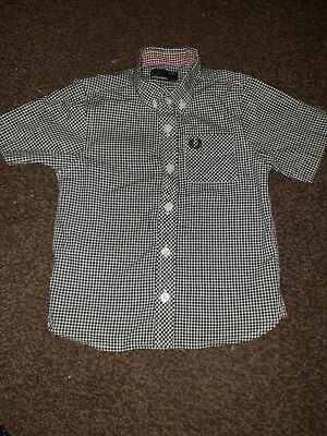 Boys Short Sleeve Fred Perry Check Shirt Age 2-3