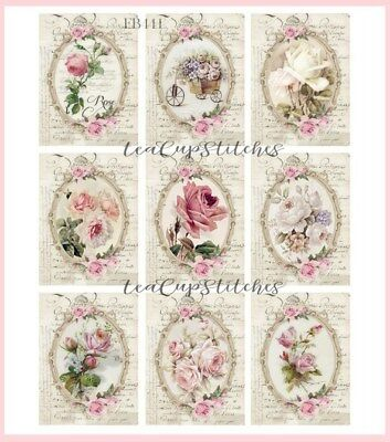 Vintage Pink Roses~French Handwriting~9 FABRIC BLOCKS~Shabby Victorian Chic~F441
