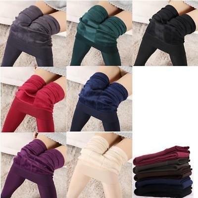 For Keep Warming Women's Solid Winter Fleece Lined Thermal Stretchy Leggings DI
