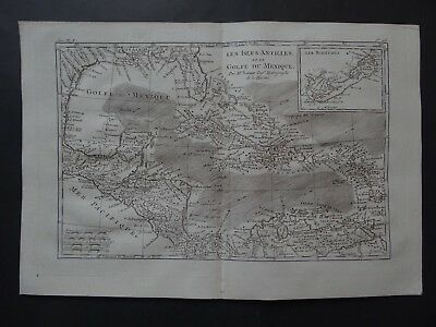 1780 Bonne  Atlas map GULF of MEXICO  Isles Antilles Golfe du Mexique Caribbean
