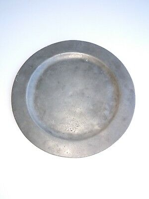 """Primitive Handmade 18Th Century Pewter 7 1/2""""  Plate No Makers Mark"""