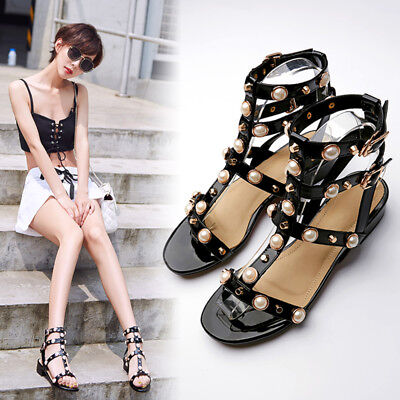 ba5d8b8c9c4 US Sz 4-10 Womens Punk Flat Rivet T Strap Sandals Ankle Buckle Shoes Hollow