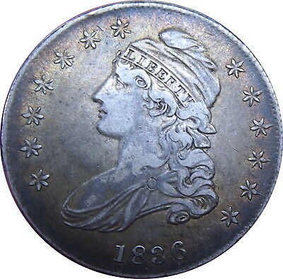 1836 Capped Bust Half Dollar Lettered Edge Choice XF Toned Problem Free - ZXYP