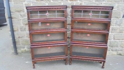 Pair Antique Oak Glazed Stacking Library Bookcases