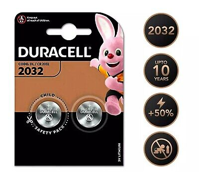 2 x DURACELL CR2032 3V Genuine LITHIUM BUTTON BATTERY COIN CELL Key Fob Alarm