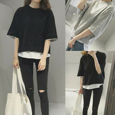 Women/Girl Casual short Sleeve T-shirt Loose Blouse Tops Korean Fashion Tee New