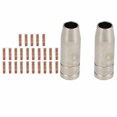 2 shroud & 25 x 0.8mm Round Contact Tips MIG Welding Binzel Style MB15 Torch