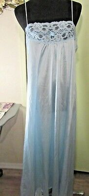 Vintage Long Blue Nightgown Size Large Neckline All Lace Spegetti Straps