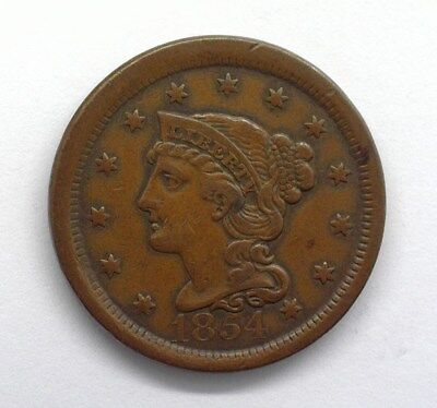 1854 Braided Hair Large Cent  About Unc