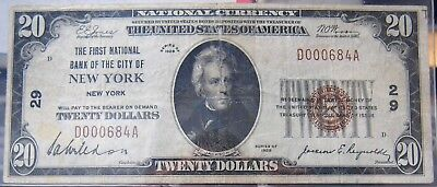 1929 $20 First National Bank of the City of New York Charter #29 VF Condition-b