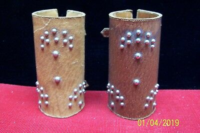 Vintage Leather Cowboy Style Wrist Cuffs Arm Cuffs