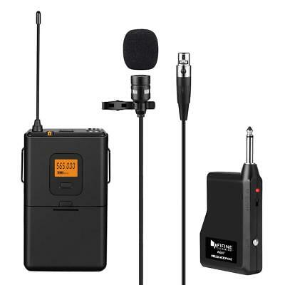 Fifine 20-Channel UHF Wireless Lavalier Lapel Microphone System, Easy to Use
