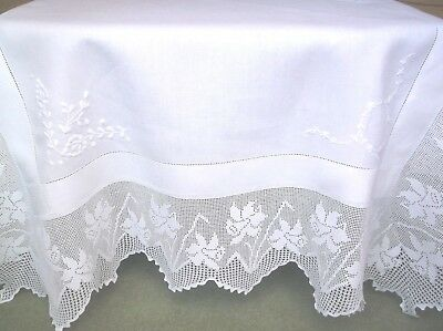 Vintage Linen Embroidered 'daffodils' Design Crochet Edge Table Cloth
