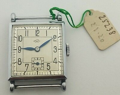Never Used WATCH 1930s MAT swiss RARE new old stock watch art deco square