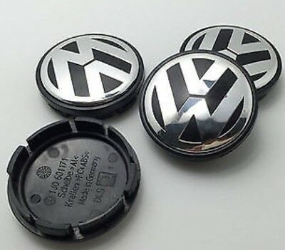 VW CHROME / BLACK ALLOY WHEEL CENTRE CAPS X4 65MM Transporter