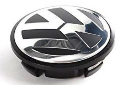 VW CHROME / BLACK ALLOY WHEEL CENTRE CAPS X4 65MM Touran