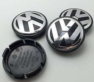 VW CHROME / BLACK ALLOY WHEEL CENTRE CAPS X4 65MM Golf Polo Passat Lupo