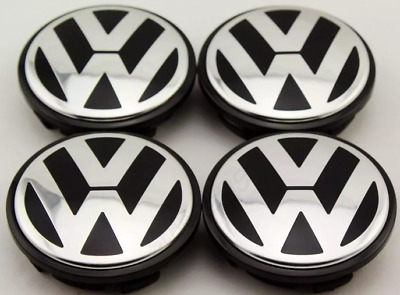 VW CHROME / BLACK ALLOY WHEEL CENTRE CAPS X4 65MM Passat