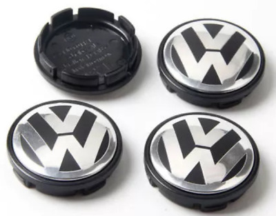 VW CHROME / BLACK ALLOY WHEEL CENTRE CAPS X4 65MM Golf Plus
