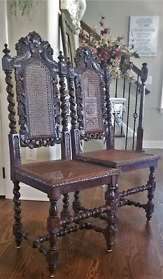 Pr Antique English Barley Twist Caned Chairs Carved Peace Doves Peacocks Birds