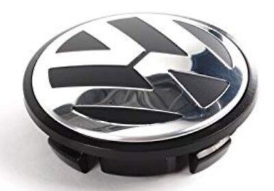 VW CHROME / BLACK ALLOY WHEEL CENTRE CAPS X4 65MM Touran.