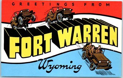 FORT WARREN Wyoming Large Letter Postcard Army WWII Military 1940s Kropp Linen