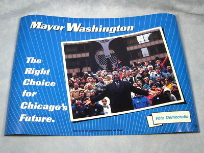 "NEW Vtg 1980's Chicago Mayor HAROLD WASHINGTON Re-Election Poster 14"" X 20"""