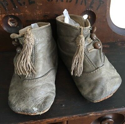 Antique Victorian Baby Shoes Leather 3 Button Up Tassel Child's