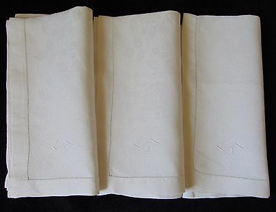 "3 Vintage French Linen Damask Ladder Stitch ""ms"" Monogram Large Napkins Unused"