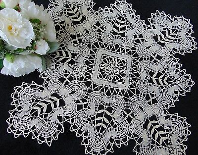 Antique/vintage Victorian French Linen Bobbin Lace Large Centrepiece 56X56.5 Cm