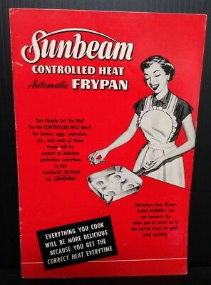 Sunbeam Controlled Heat Automatic Frypan 1953 Manual Cookbook 12 pages