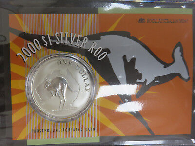2000 Australia $1 Kangaroo 1 oz .999 Silver Coin UNC in Mint Packaging