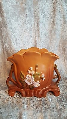 Beautiful WELLER Pottery Caramel Brown Vase Dogwood Pattern w/Handles