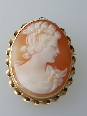 Beautiful Vintage 14K Yellow Gold Carved Shell Cameo Pendant Brooch #20954011