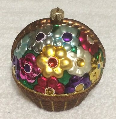 Large Basket of Flowers Blown Glass Christmas Ornament fr Poland ~ Jewel Colors!