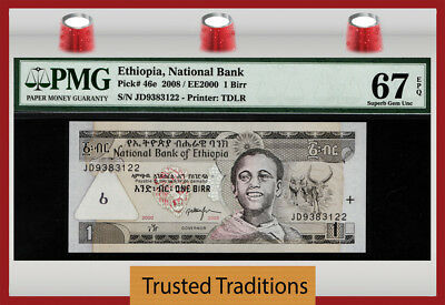 TT PK 46e 2008 ETHIOPIA NATIONAL BANK 1 BIRR PMG 67 EPQ SUPERB GEM UNCIRCULATED!