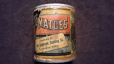 Anderson Canning Co Keokuk Iowa Tomato Tin Can Paper Label Coffee Spice Salmon