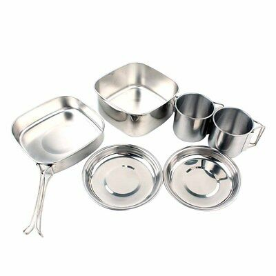 6PCS Nontoxic Portable Durable Stainless Steel Picnic Set for Outdoor Backpacker