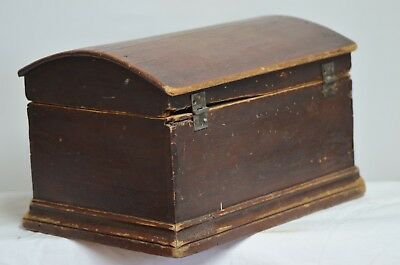 Small Antique Dome Top Pine Blanket Box Chest in Original Red Paint - Circa 1890