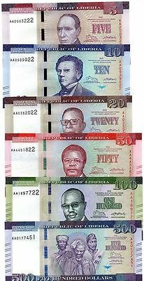 SET, Liberia / Africa 5;10;20;50;100;500 dollars 2016, P-New, New Design UNC