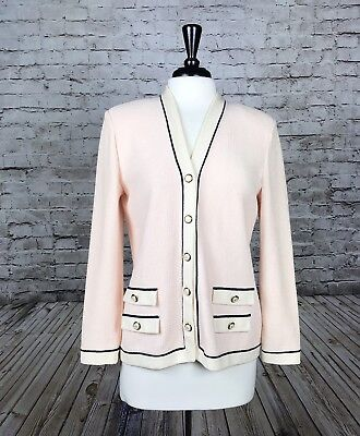 ST. JOHN COLLECTION BY MARIE GRAY Knit Pink Jacket Sz Small Long Sleeve Buttons