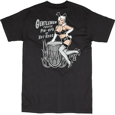 Lucky 13 Bunny Pin Up Model Hot Rods Tattoos Rockabilly Biker T Shirt LM1000BU