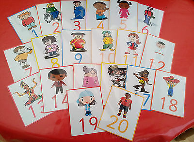 Multicultural People Number Line-20 Flash Cards - Ofsted / Eyfs/ Ks1- Pre-School