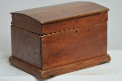 Small Antique Dome Top Pine Document Box Chest in Original Red Paint  Circa 1870