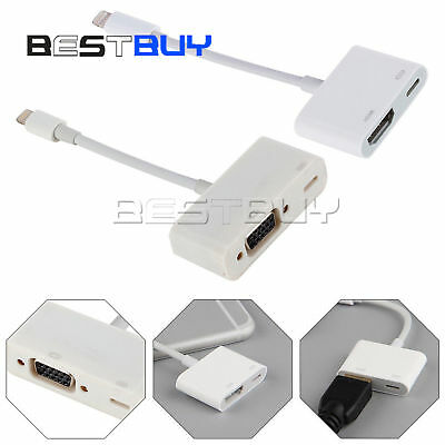 8 Pin Lightning to VGA/HDMI Digital AV Cable Adapter Apple iPhone 6 7 8 Plus BBC