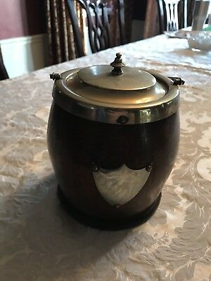 Antique Old English Oak Barrel Ice Bucket w/ Porcelain Lining and Silver Crest
