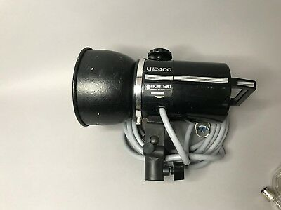 Norman LH-2400B 2400ws Lamphead With Blower, Clip On Flash Hood, Cable, Bulbs