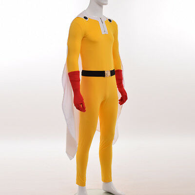 Anime One Punch Man Costume Outfit Saitama Oppai Cosplay Battle Suit Fancy Dress