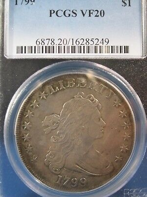 1799 $1 Flowing Hair Silver  Dollar Very Desirable Series  Pcgs Vf20 Free S/h
