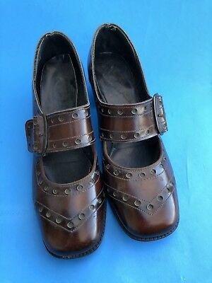 Vintage 60s 70s Brown Mary Jane Baby Doll Buckle Shoes
